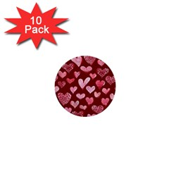 Watercolor Valentine s Day Hearts 1  Mini Buttons (10 pack)