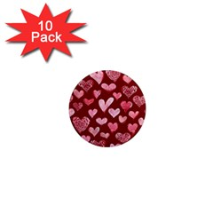 Watercolor Valentine s Day Hearts 1  Mini Magnet (10 pack)