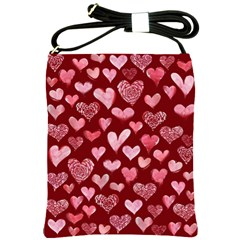 Watercolor Valentine s Day Hearts Shoulder Sling Bags