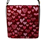 Watercolor Valentine s Day Hearts Flap Messenger Bag (L)