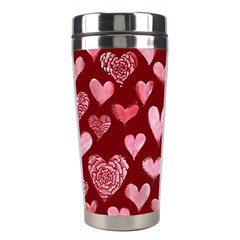 Watercolor Valentine s Day Hearts Stainless Steel Travel Tumblers