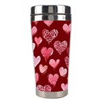 Watercolor Valentine s Day Hearts Stainless Steel Travel Tumblers Right