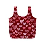 Watercolor Valentine s Day Hearts Full Print Recycle Bags (S)  Back