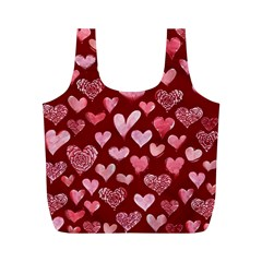 Watercolor Valentine s Day Hearts Full Print Recycle Bags (m)  by BubbSnugg