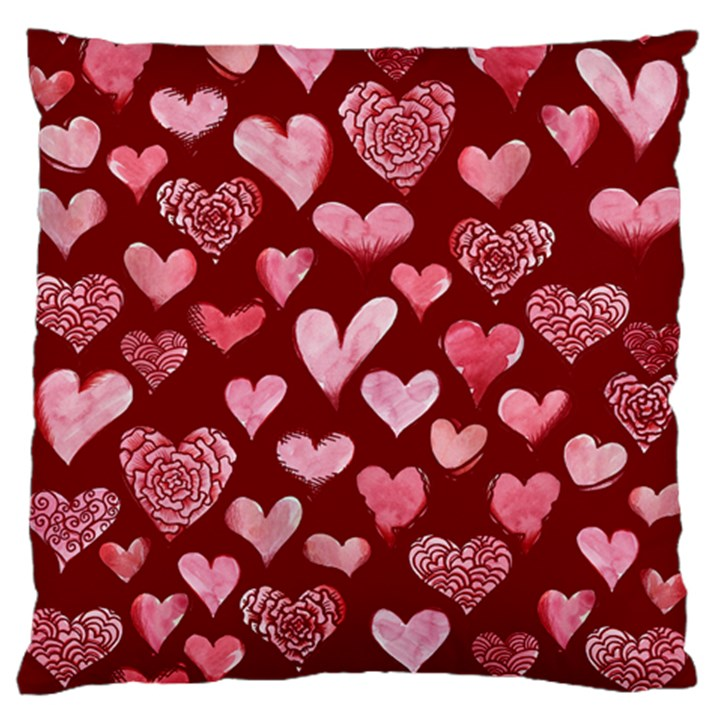 Watercolor Valentine s Day Hearts Standard Flano Cushion Case (Two Sides)