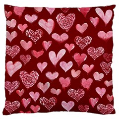 Watercolor Valentine s Day Hearts Large Flano Cushion Case (One Side)