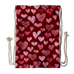 Watercolor Valentine s Day Hearts Drawstring Bag (Large)