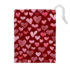 Watercolor Valentine s Day Hearts Drawstring Pouches (Extra Large)