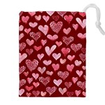 Watercolor Valentine s Day Hearts Drawstring Pouches (XXL)
