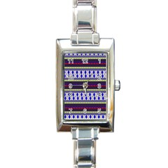 Colorful Retro Geometric Pattern Rectangle Italian Charm Watch