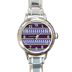 Colorful Retro Geometric Pattern Round Italian Charm Watch by DanaeStudio