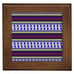 Colorful Retro Geometric Pattern Framed Tiles by DanaeStudio