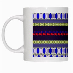 Colorful Retro Geometric Pattern White Mugs by DanaeStudio