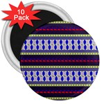 Colorful Retro Geometric Pattern 3  Magnets (10 pack)  Front