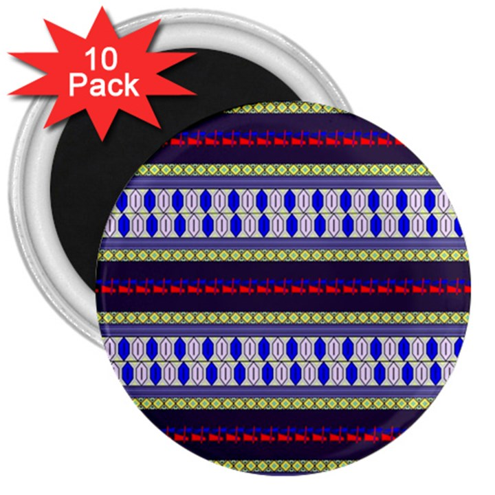 Colorful Retro Geometric Pattern 3  Magnets (10 pack)