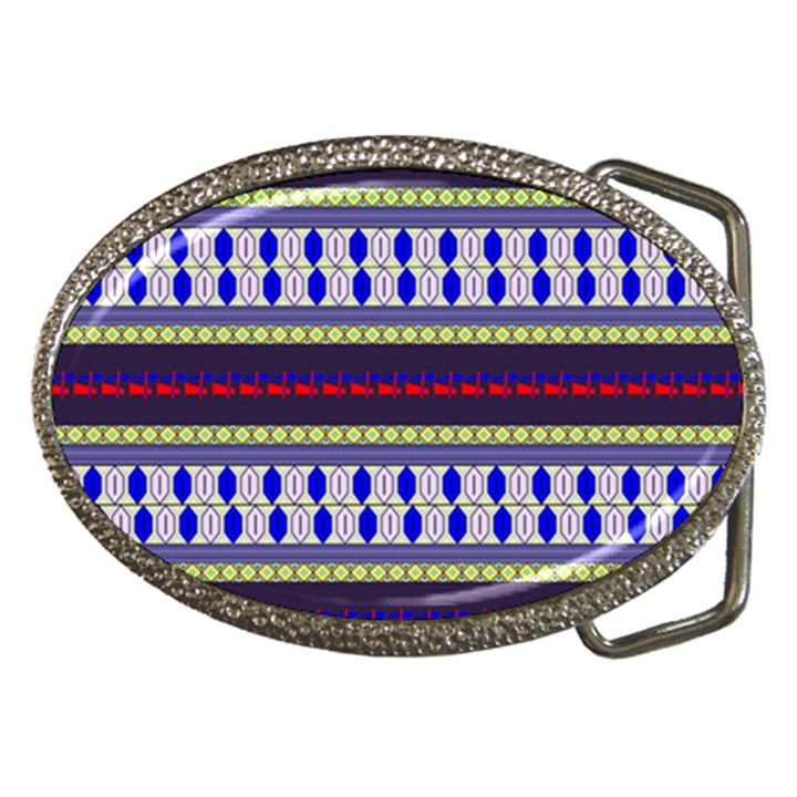Colorful Retro Geometric Pattern Belt Buckles