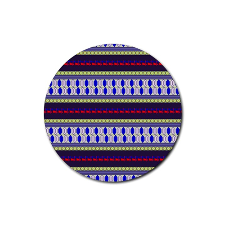 Colorful Retro Geometric Pattern Rubber Round Coaster (4 pack)