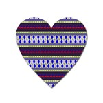 Colorful Retro Geometric Pattern Heart Magnet Front