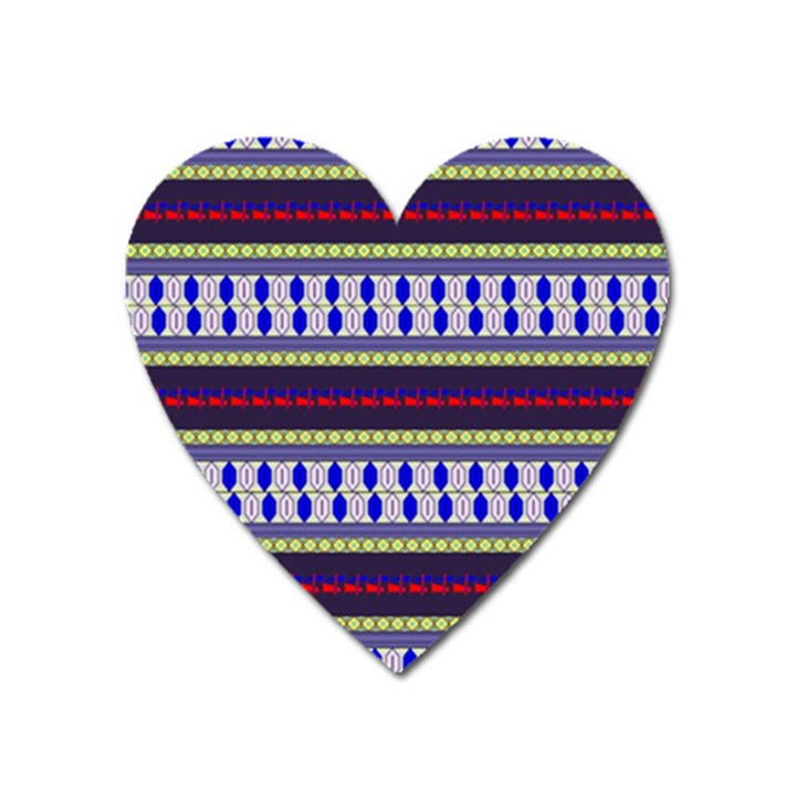 Colorful Retro Geometric Pattern Heart Magnet