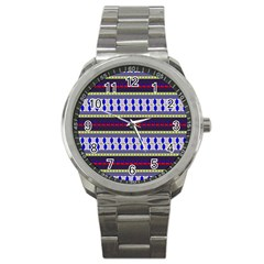 Colorful Retro Geometric Pattern Sport Metal Watch