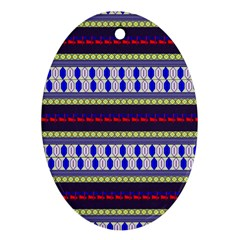 Colorful Retro Geometric Pattern Oval Ornament (two Sides) by DanaeStudio