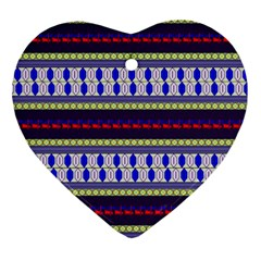 Colorful Retro Geometric Pattern Heart Ornament (2 Sides)