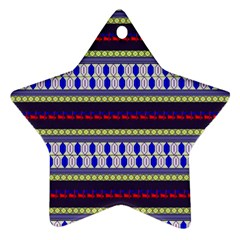 Colorful Retro Geometric Pattern Star Ornament (two Sides)  by DanaeStudio