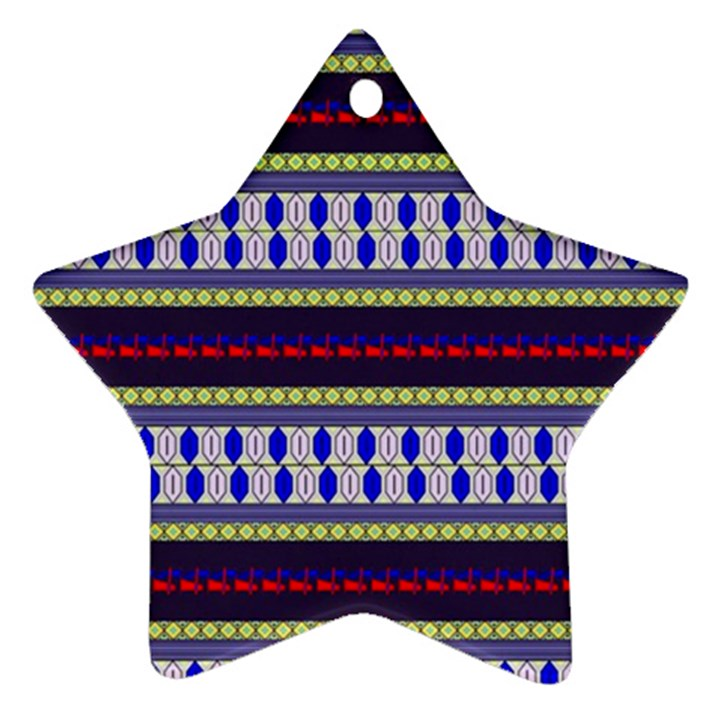Colorful Retro Geometric Pattern Star Ornament (Two Sides)