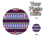 Colorful Retro Geometric Pattern Playing Cards 54 (Round)  Front - Heart7