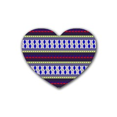 Colorful Retro Geometric Pattern Rubber Coaster (heart)  by DanaeStudio
