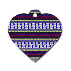 Colorful Retro Geometric Pattern Dog Tag Heart (one Side) by DanaeStudio