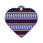 Colorful Retro Geometric Pattern Dog Tag Heart (One Side) Front