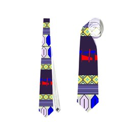 Colorful Retro Geometric Pattern Neckties (two Side)  by DanaeStudio