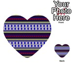 Colorful Retro Geometric Pattern Multi-purpose Cards (Heart)  Front 25