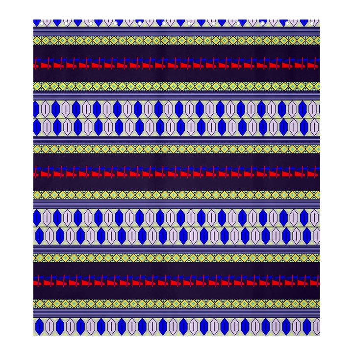 Colorful Retro Geometric Pattern Shower Curtain 66  x 72  (Large)