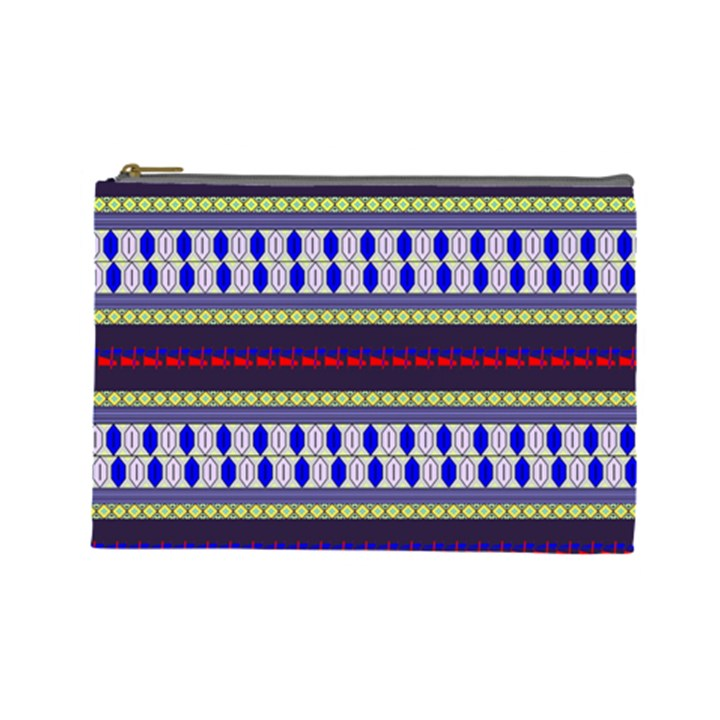 Colorful Retro Geometric Pattern Cosmetic Bag (Large)