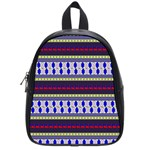 Colorful Retro Geometric Pattern School Bags (Small)  Front