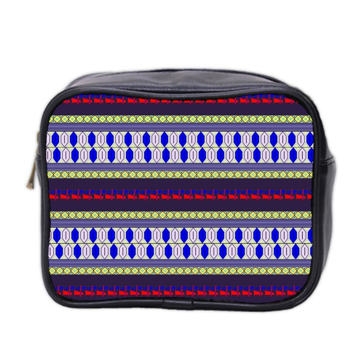 Colorful Retro Geometric Pattern Mini Toiletries Bag 2-Side