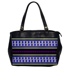 Colorful Retro Geometric Pattern Office Handbags by DanaeStudio