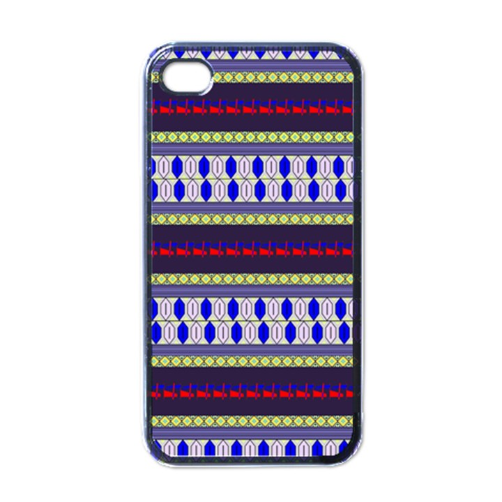 Colorful Retro Geometric Pattern Apple iPhone 4 Case (Black)