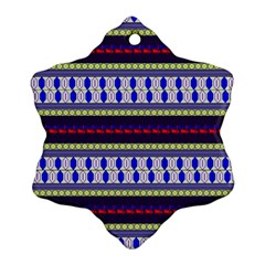 Colorful Retro Geometric Pattern Snowflake Ornament (2 Side) by DanaeStudio