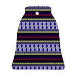 Colorful Retro Geometric Pattern Bell Ornament (2 Sides) Back