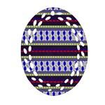 Colorful Retro Geometric Pattern Oval Filigree Ornament (2-Side)  Front
