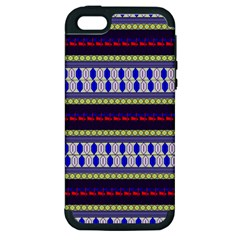 Colorful Retro Geometric Pattern Apple Iphone 5 Hardshell Case (pc+silicone)