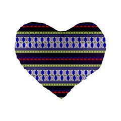 Colorful Retro Geometric Pattern Standard 16  Premium Heart Shape Cushions