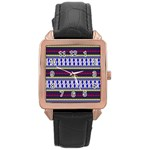 Colorful Retro Geometric Pattern Rose Gold Leather Watch  Front
