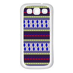 Colorful Retro Geometric Pattern Samsung Galaxy S3 Back Case (white) by DanaeStudio