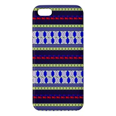 Colorful Retro Geometric Pattern Iphone 5s/ Se Premium Hardshell Case by DanaeStudio