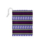 Colorful Retro Geometric Pattern Drawstring Pouches (Small)  Back