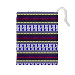Colorful Retro Geometric Pattern Drawstring Pouches (Large)  Front